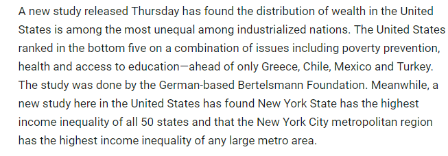 Study Confirms Wealth Distribution in United States is Most Unequal Among Industrialized Nations Democracy Now